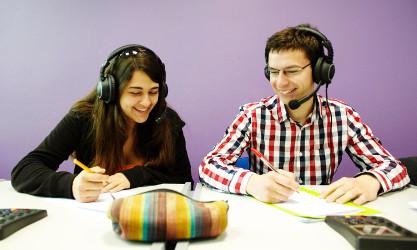 2 students, language class
