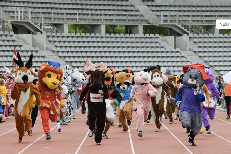 challenge de l'été  course de mascottes